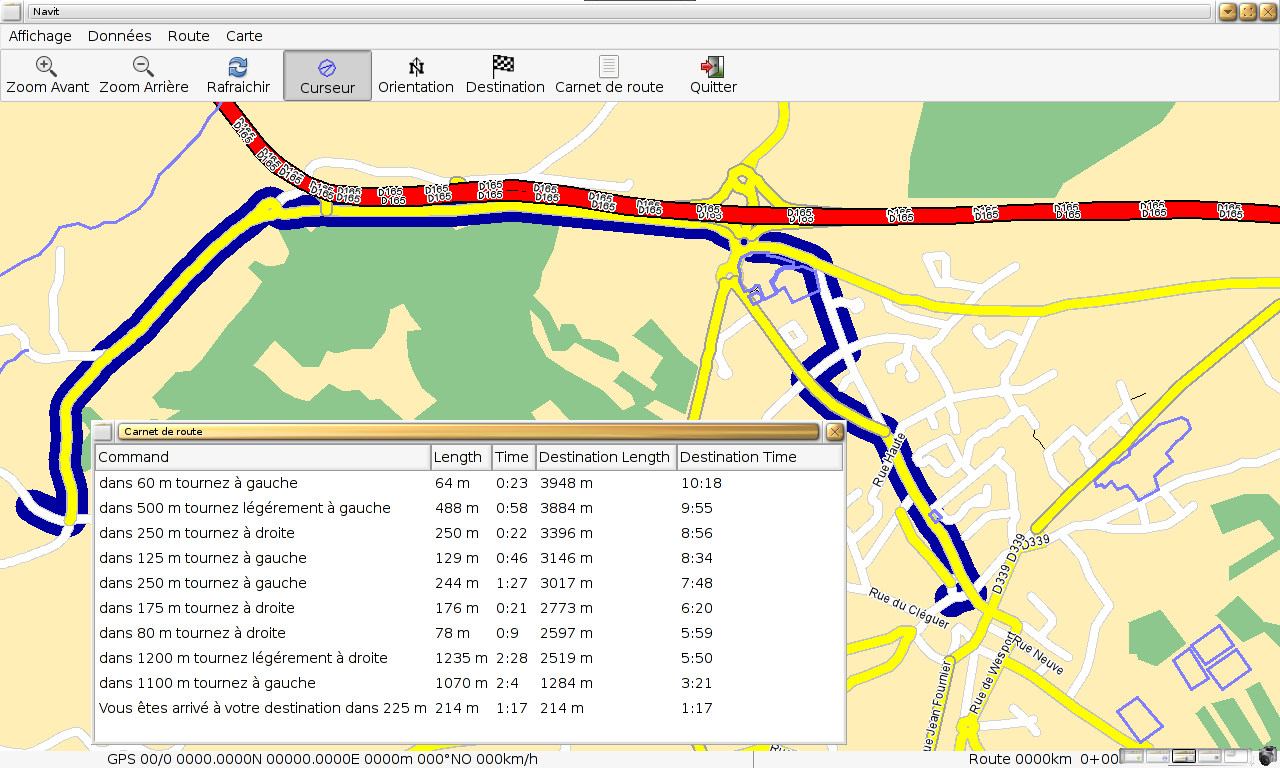 GTK gui under enlightenment, showing the roadbook, OSM map from Brest in France